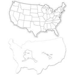 Chenille Kraft Whiteboard, USA Map, 12 inx8 in, 2-Sided, Pack of 10