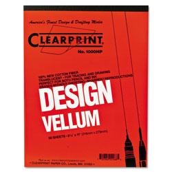 ClearPrint Design Vellum Paper, 16lb, 8.5 x 11, Translucent White, 50/Pad