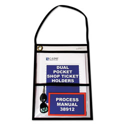 C-Line 2-Pocket Shop Ticket Holder w/Strap, Black Stitching, 150-Sheet, 9 x 12, 15/Box