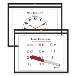 C-Line Reusable Dry Erase Pockets, 12 x 9, Black