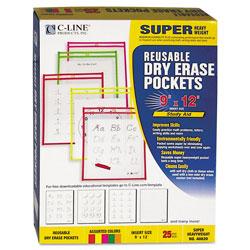 C-Line Reusable Dry Erase Pockets, 9 x 12, Assorted Neon Colors, 25/Box