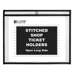 C-Line Shop Ticket Holders, Stitched, Both Sides Clear, 75 Sheets, 12 x 9, 25/Box