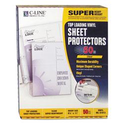 C-Line Super Heavyweight Vinyl Sheet Protectors, Clear, 2 Sheets, 11 x 8 1/2, 50/BX