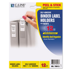 C-Line Self-Adhesive Ring Binder Label Holders, Top Load, 1 x 2 13/16, Clear, 12/Pack