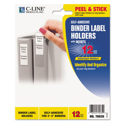 C-Line Self-Adhesive Ring Binder Label Holders, Top Load, 2 3/4 x 3 5/8, Clear, 12/Pack
