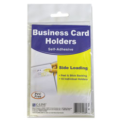 C-Line Self-Adhesive Business Card Holders, Side Load, 2 x 3 1/2, Clear, 10/Pack