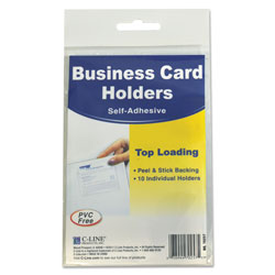 C-Line Self-Adhesive Business Card Holders, Top Load, 2 x 3 1/2, Clear, 10/Pack
