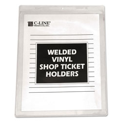 C-Line Clear Vinyl Shop Ticket Holders, Both Sides Clear, 15 Sheets, 8 1/2 x 11, 50/BX