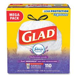 Glad OdorShield with Febreze, 13 gal, 0.72 mil, 25.75 in x 11.75 in, White, 110/Box