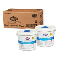 Clorox Bleach Germicidal Wipes, 12 x 12, Unscented, 110/Canister, 2/Carton