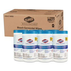 Clorox Bleach Germicidal Wipes, 6 x 5, Unscented, 150/Canister, 6 Canisters/Carton