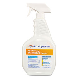 Clorox Broad Spectrum Quaternary Disinfectant Cleaner, 32oz Spray Bottle, 9/Carton