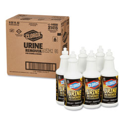Clorox Urine Remover for Stains and Odors, 32 oz Pull top Bottle, 6/Carton