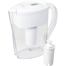 Brita Pitcher w/Water Filter, Brita Space Saver, 6-cup, 2/CT