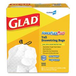 Glad ForceFlex Tall Kitchen Drawstring Bags, 13 gal, .82mil, 24 x 24 7/8 White 100/BX