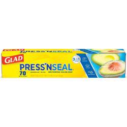 Glad Press'n Seal Food Plastic Wrap, 70 Square Foot Roll, 12/Carton