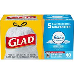 Glad OdorShield Tall Kitchen Drawstring Bags, 13 gal, 0.78 mil, 24 in x 27.38 in, White, 240/Carton