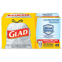 Glad Trash Bag, 13-gallon, Drawstring, 2' x 2-1/4' x 1ml, WE