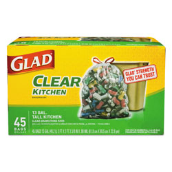Glad Recycling Tall Kitchen Drawstring Trash Bags, 13 gal, 0.9 mil, 24 in x 27.38 in, Clear, 45/Box