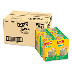 Glad Recycling Tall Kitchen Drawstring Trash Bags, 13 gal, 0.9 mil, 24 in x 27.38 in, Clear, 180/Carton