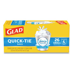 Glad OdorShield Quick-Tie Small Trash Bags, 4 gal, 0.5 mil, 8 in x 18 in, White, 156/Carton