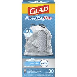 Glad ForceFlex Plus X-Large Drawstring Trash Bags, 20 gal, White, 180/Carton, 30 Per Box