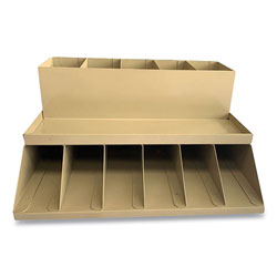 Controltek Coin Wrapper and Bill Strap Two-Tier Rack, 11 Compartments, 9.38 x 8.13 4.63, Metal, Pebble Beige