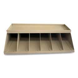 Controltek Coin Wrapper and Bill Strap Single-Tier Rack, 6 Compartments, 10 x 8.5 x 3, Metal, Pebble Beige