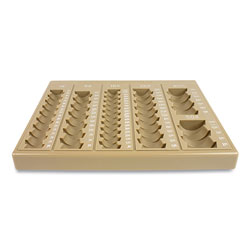 Controltek Plastic Coin Tray, 6 Compartments, 7.75 x 10 x 1.5, Tan
