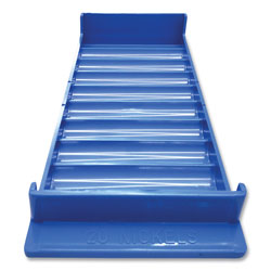 Controltek Stackable Plastic Coin Tray, Nickels, 10 Compartments, Blue, 2/Pack