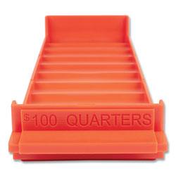 Controltek Stackable Plastic Coin Tray, Quarters, 3.75 x 11.5 x 1.5, Orange, 2/Pack