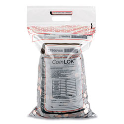 CoinLOK™ Coin Bag, 12.5 x 25, 5 mil Thick, Plastic, Clear, 50/Pack