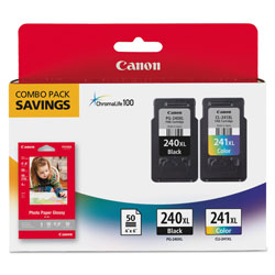 Canon 5206B005 (PG-240XL; CL-241XL) High-Yield Ink/Paper Combo, Black/Tri-Color