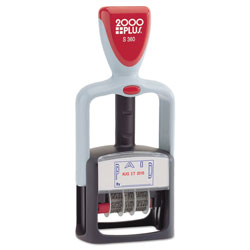 Consolidated Stamp Model S 360 Two-Color Message Dater, 1.75 x 1,  inPaid, in Self-Inking, Blue/Red