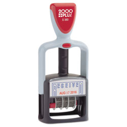 Consolidated Stamp Model S 360 Two-Color Message Dater, 1.75 x 1,  inReceived in, Self-Inking, Blue/Red
