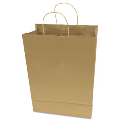 Consolidated Stamp Premium Shopping Bag, 12 in x 17 in, Brown Kraft, 50/Box