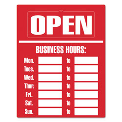 Consolidated Stamp Business Hours Sign Kit, 15 x 19, Red