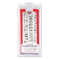 Consolidated Stamp Character Kit, Letters, Numbers, Symbols, White, Helvetica, 258 Pieces