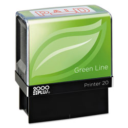 Cosco Green Line Message Stamp, Paid, 1 1/2 x 9/16, Red
