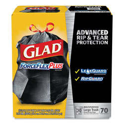 Glad ForceFlexPlus Drawstring Large Trash Bags, 30 gal, 1.05 mil, 30 in x 32 in, Black, 70/Box