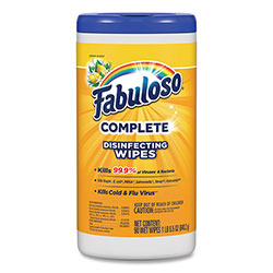 Fabuloso® Multi Purpose Wipes, Lemon, 7 x 7, 90/Canister, 4 Canisters/Carton