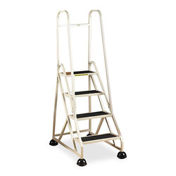 Cramer Industries Four-Step Stop-Step Folding Aluminum Ladder w/Two Handrails, 66 1/4 in High, Beige