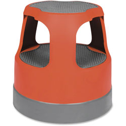 Cramer Industries Scooter Stool, Round, 15 in, Step & Lock Wheels, to 300lb, Red