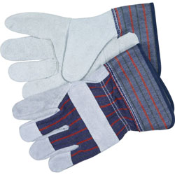 Crews Split Leather Palm Gloves, Medium, Gray, Pair