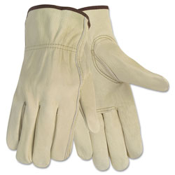 MCR Safety Economy Leather Driver Gloves, Medium, Beige, Pair