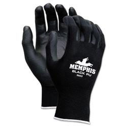 MCR Safety Economy PU Coated Work Gloves, Black, Large, 1 Dozen