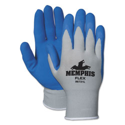 MCR Safety Memphis Flex Seamless Nylon Knit Gloves, Large, Blue/Gray, Pair