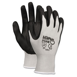 Crews Economy Foam Nitrile Gloves, Large, Gray/Black, 12 Pairs