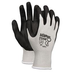 MCR Safety Economy Foam Nitrile Gloves, Medium, Gray/Black, 12 Pairs