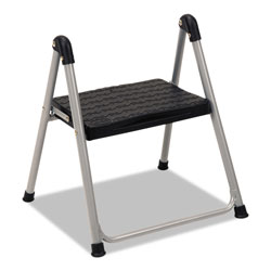 Cosco Folding Step Stool, 1-Step, 200 lb Capacity, 9.9 in Working Height, Platinum/Black
